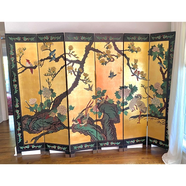 Six Panel Chinese Coromandel Gilt and Lacquer Screen For Sale - Image 10 of 10
