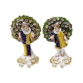 Antique Derby Porcelain Harlequins, a Pair For Sale