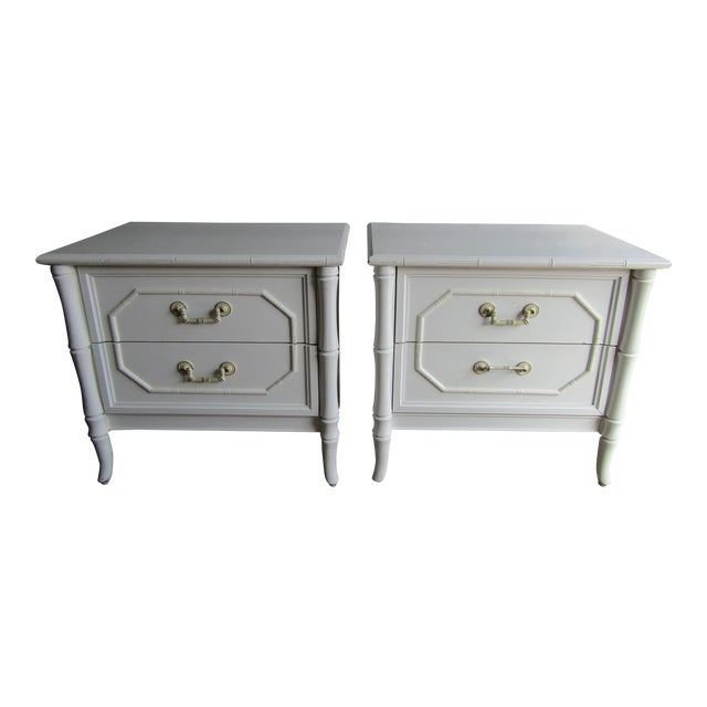 Vintage Faux Bamboo Vintage Two Drawer Nightstands-a Pair For Sale