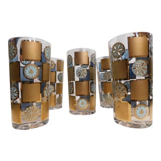 1960s Mid-century Modern Gold/turquoise Glasses - Set of 5 For Sale