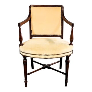 Creme Brulee Velvet Mahogany Frame Traditional Accent Chair For Sale