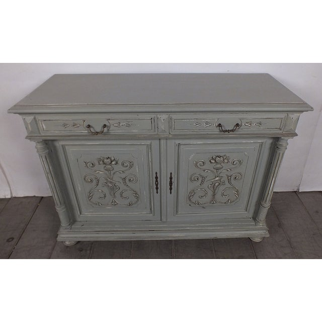 19th C. French Vintage Gray Credenza - Image 3 of 11