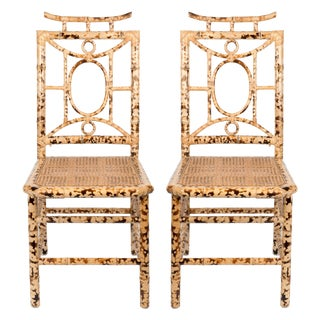Bamboo Chinoiserie Pagoda Dining Chairs - a Pair For Sale