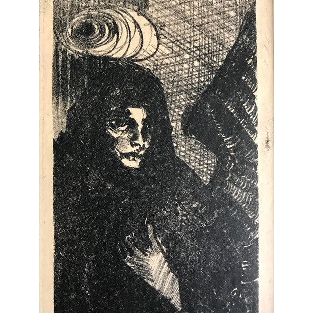 Vintage Expressionist Lithograph of an Angel in Black by James Angier For Sale - Image 4 of 5