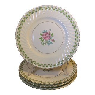1950s Vintage Rose Medallions Minton Bone China Plates Pattern S488 - Set of 4 For Sale