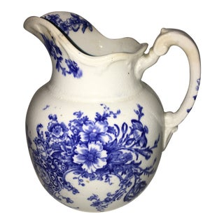 1950s Vintage Blue & White Porcelain Pitcher Jug For Sale