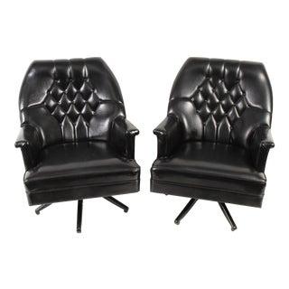 Mid-Century Kroehler Naugahyde Swivel Chairs For Sale