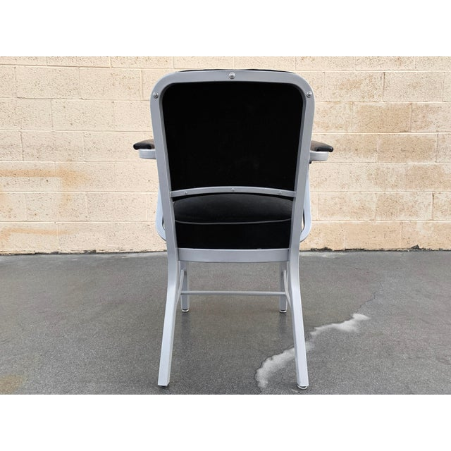 Mid Century Steel Tanker Armchair, Refinished in Bengal Silver and Black Velve For Sale In Los Angeles - Image 6 of 7