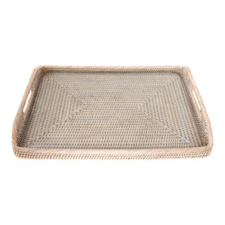 Artifacts Rattan Rectangular Tray With Glass Insert For Sale