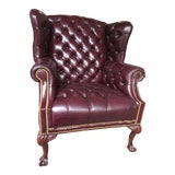 Image of Late 20th Century Federal Style Leather Wingback Tufted Armchair by Smithe-Craft For Sale
