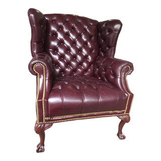 Late 20th Century Federal Style Leather Wingback Tufted Armchair by Smithe-Craft For Sale