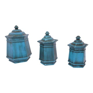 1950s Vintage Haeger Turquoise Jars - Set of 3 For Sale