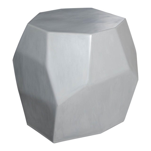 Faceted Drumstool - Grey Lacquer For Sale