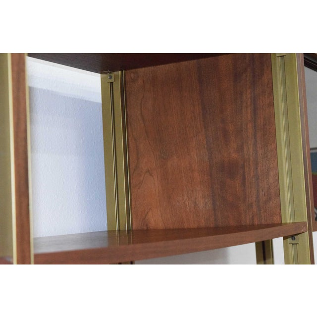 Large Four Bay George Nelson Walnut and Bronze Omni System For Sale - Image 9 of 13