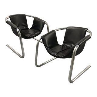 Mid-Century Cantilevered Zermatt Italian Sling Lounge Chairs — a Pair For Sale