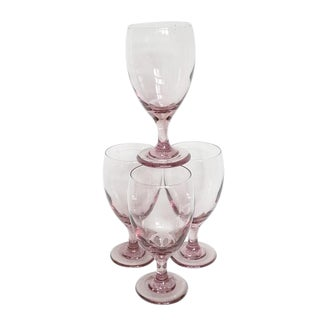 Vintage Libbey Premier Pattern Plum Pink Glass Wine Glass Goblets - Set of 4