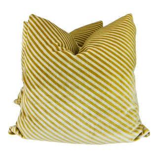 """Lee Jofa """"Oblique"""" in Gold/Oatmeal 22"""" Pillows-A Pair For Sale"""