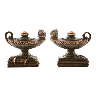 1940s Copper Genie Lamp Bookends - A Pair