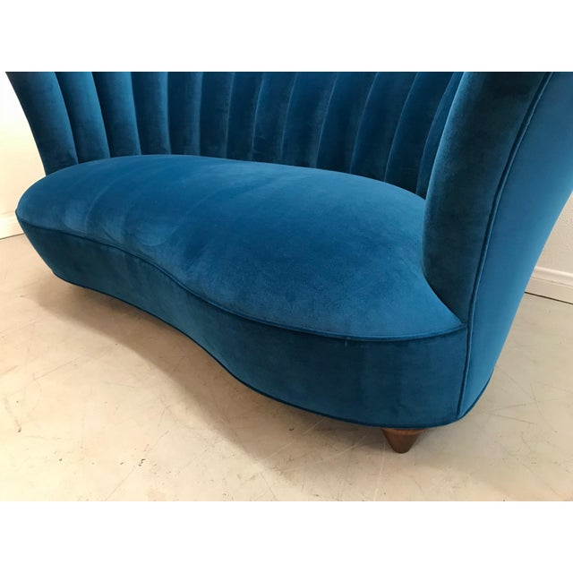 Blue 1960s Art Deco Asymmetrical Blue Upholstereed Channel Back Sofa For Sale - Image 8 of 9