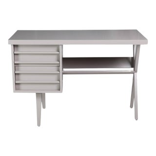 Mid-Century Gray Painted Wood Desk