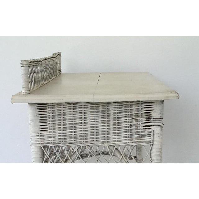 Antique White Wicker Console - Image 7 of 8
