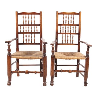 Lancashire-Style Spindle Armchairs - A Pair For Sale