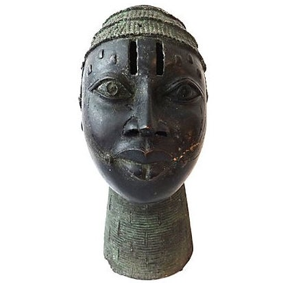 African Benin Bronze Head of King Oba For Sale