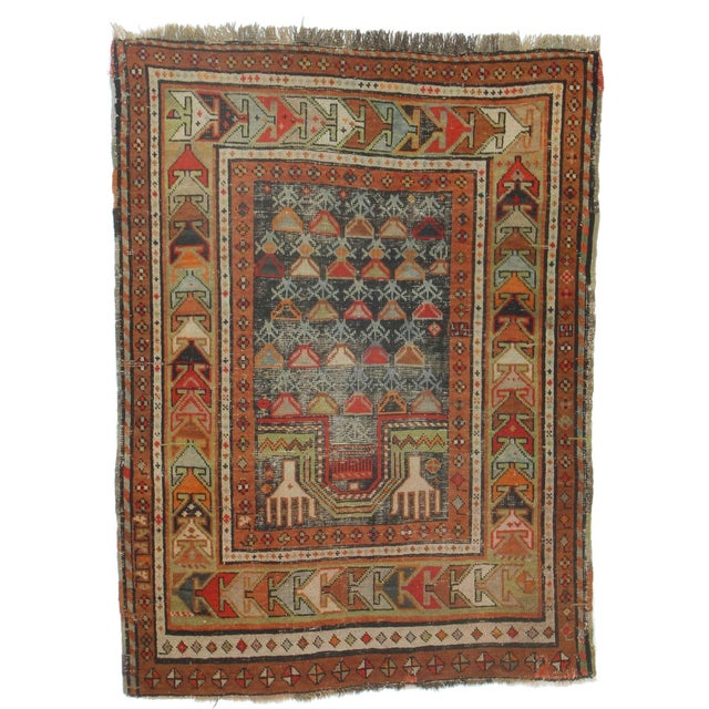 RugsinDallas Antique Russian Hand Knotted Wool Rug - 3′ × 4′1″ For Sale