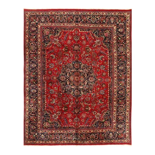 Red Semi Antique Persian Hand Knotted Mashad 9'8'' X 12'6'' For Sale