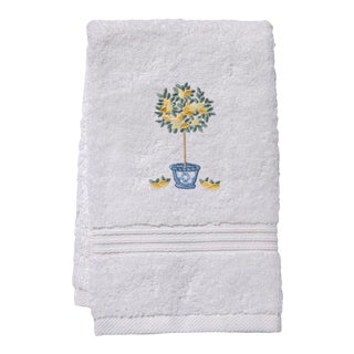 Yellow Lemon Topiary Tree Guest Towel White Terry, Embroidered For Sale