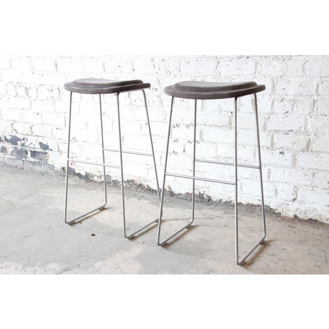 Italian Italian Bar Stools by Cappellini, a Pair For Sale - Image 3 of 9