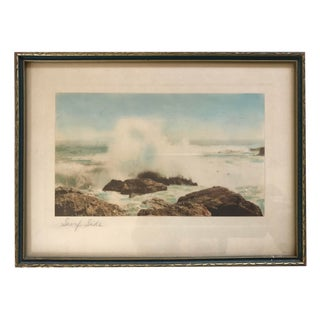 Vintage Hand Tinted Beach Photograph For Sale