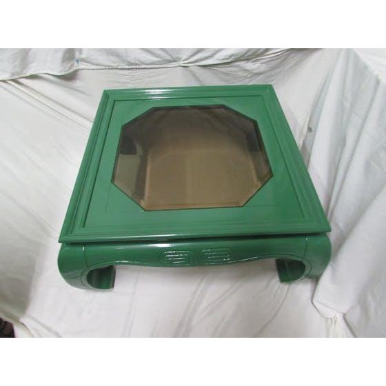 Greek Key Green Lacquered Ming Style Coffee Table - Image 4 of 5