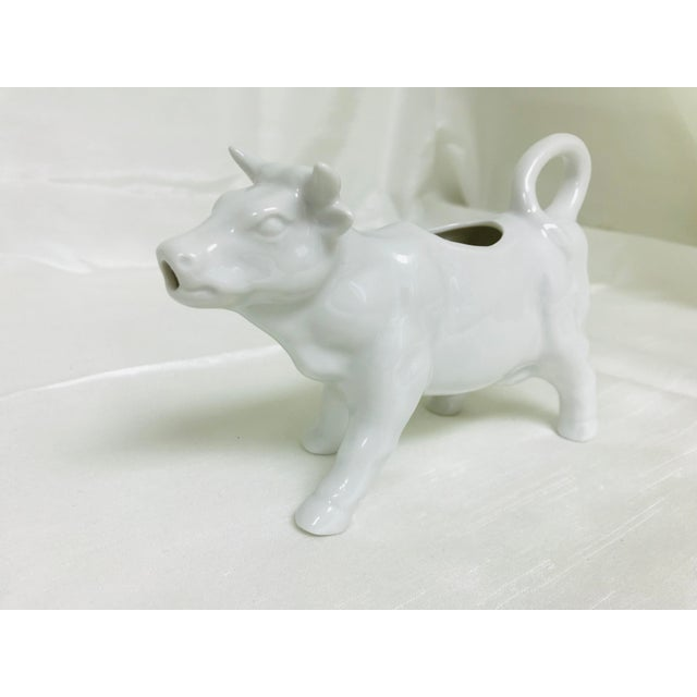 White 1970s Vintage White Ceramic Cow Creamer Pitcher For Sale - Image 8 of 8