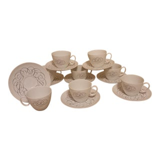 1960s Mid-Century Modern Rosenthal Raymond Loewy Script Cups & Saucers - Set of 8 For Sale