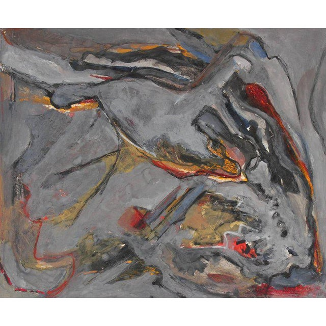 Abstract Jack Freeman Abstract Expressionist Study in Gray Acrylic, Circa 1960s For Sale - Image 3 of 3