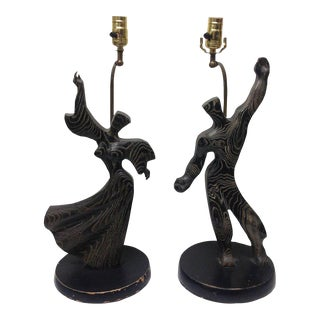 Heifetz Cerused Oak Figural Lamps - A Pair
