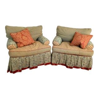 English Bohemian Style Upholstered Armchair by Carol Hicks Bolton for Ej Victor - a Pair For Sale