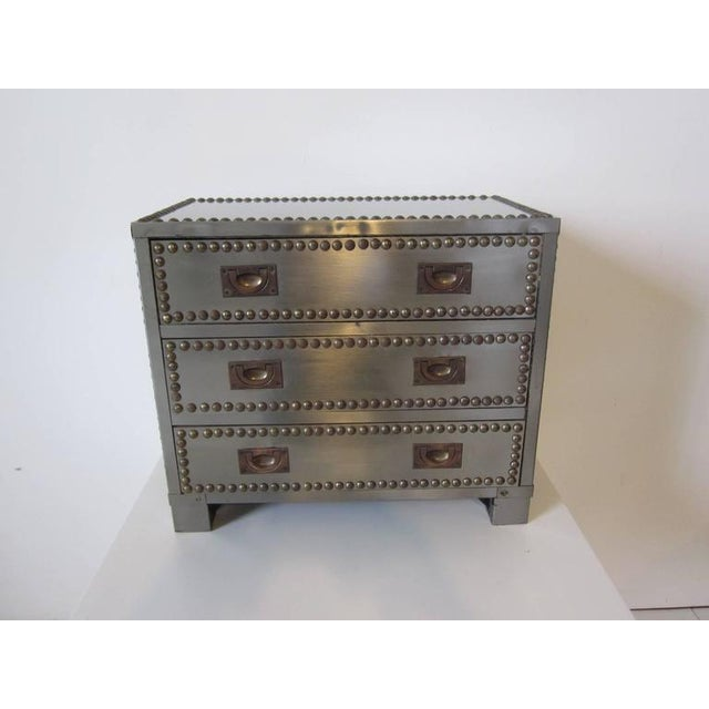 Silver Stainless and brass Studded Jewelry Box For Sale - Image 8 of 8