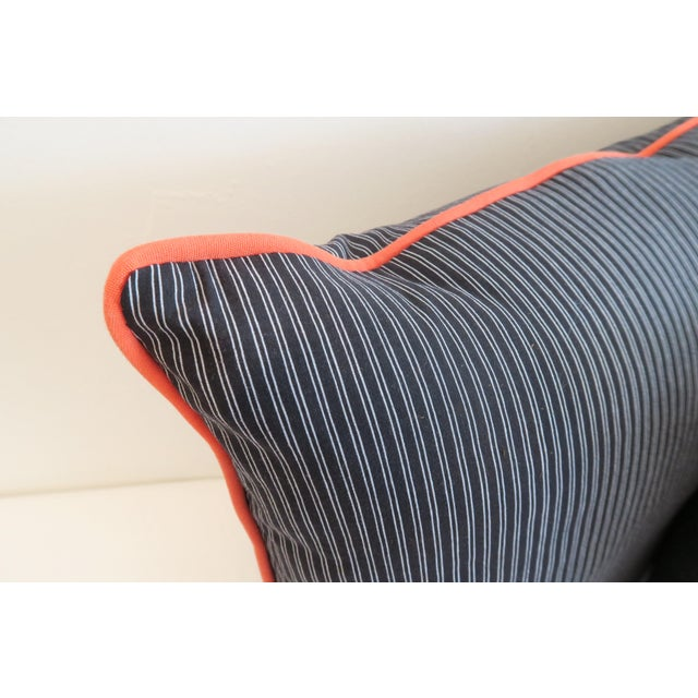 Custom Navy Stripe & Orange Trim Pillows - A Pair For Sale - Image 4 of 4