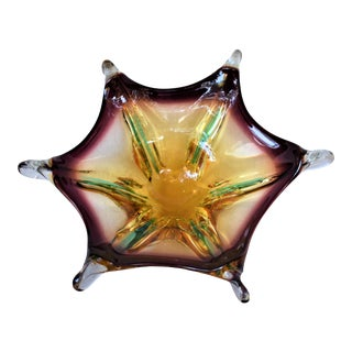 Murano Art Glass Hexagon Bowl For Sale