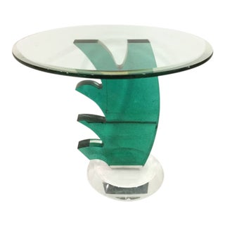 Green Lucite and Beveled Glass Top Side Table