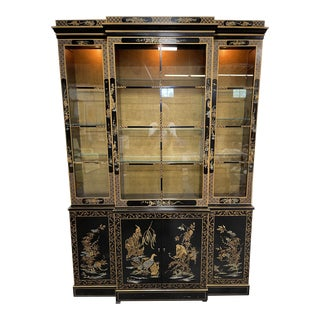 Drexel Hand Painted Black Lacquer China Cabinet For Sale
