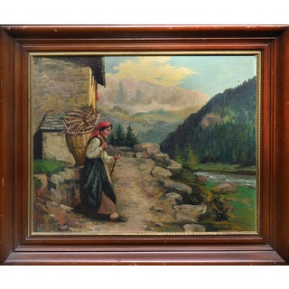 Enrique Brocco Woman Carrying Wood Painting