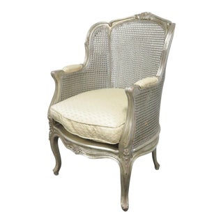 Louis XV Silver Gilt Caned Bergere For Sale