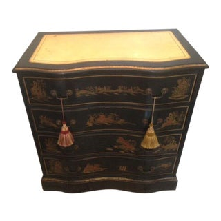 Vintage Chinoiserie Decorated Black Lacquer Serpentine Chest Gilded Leather Top For Sale