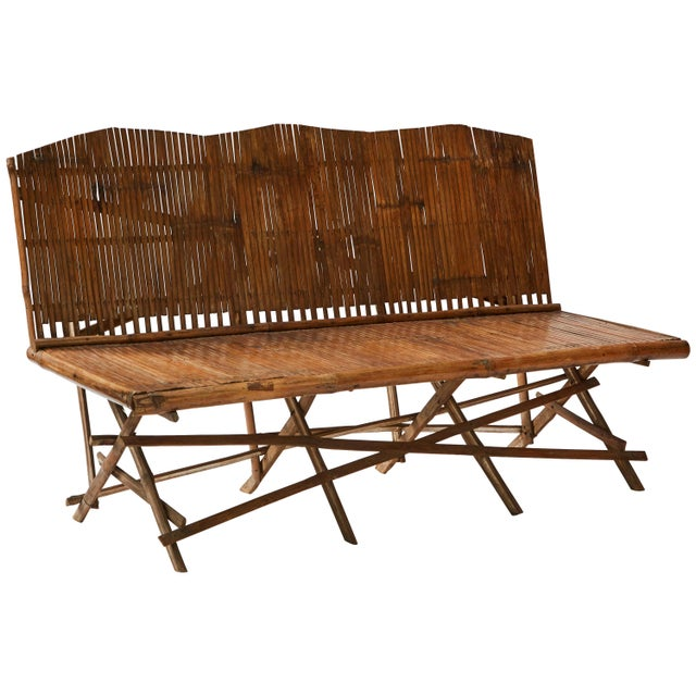 Wood 1920s English Bamboo Slatted Country Bench For Sale - Image 7 of 7