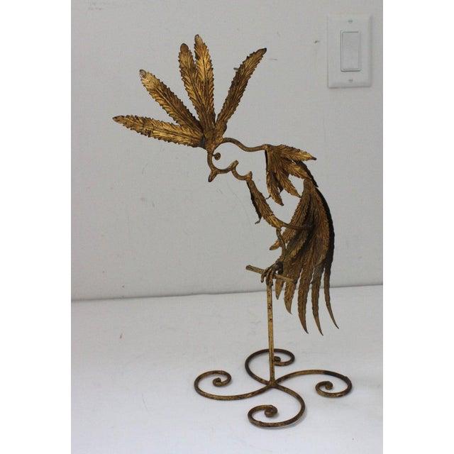 Mid-Century Modern Plumed Bird Figure in Florentine Gold Leaf For Sale - Image 12 of 13