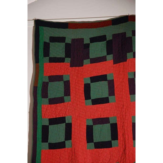Early 20thc Amish Nine Patch Wool Quilt From Pennsylvania - Image 5 of 9