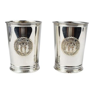 Silver Plate Engraved Kentucky Colonels Mint Julep Cups 1982 - a Pair For Sale